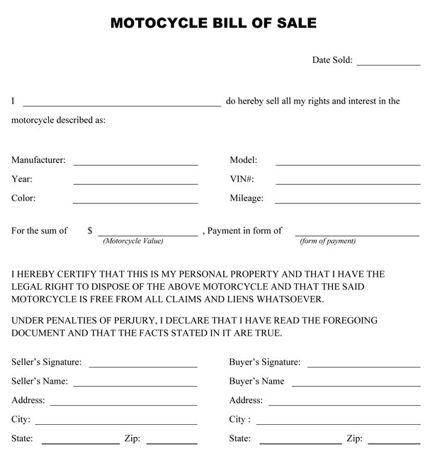 printable motorcycle bill of sale