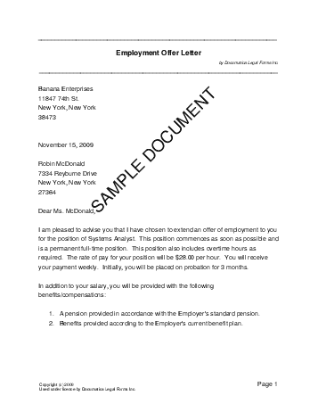 job offer letter format - Template