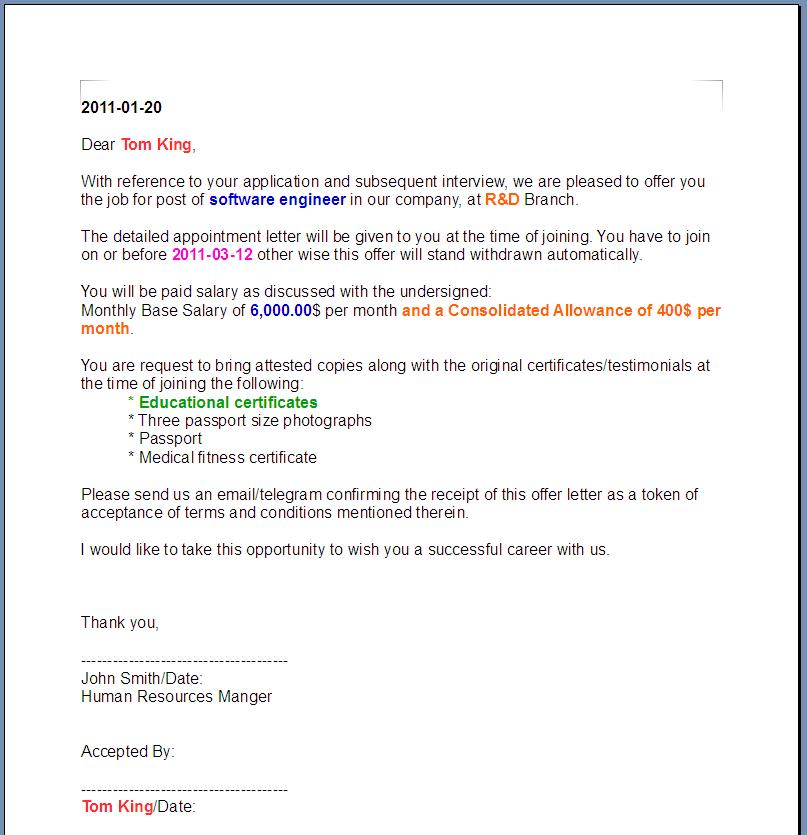 Letter Offer Sale