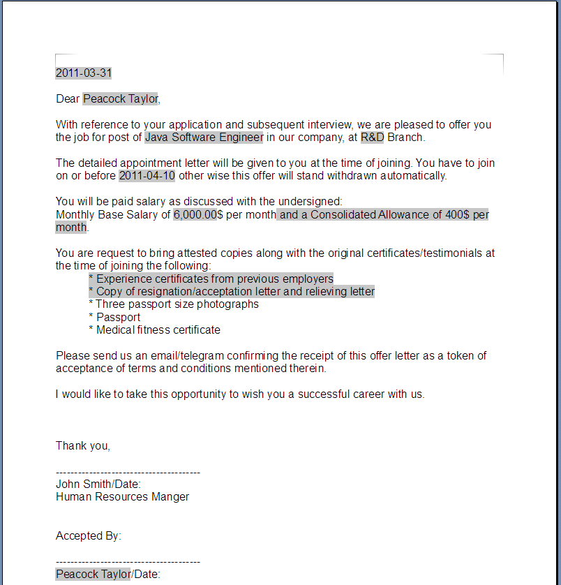Free Printable Offer Letter Sample Form GENERIC