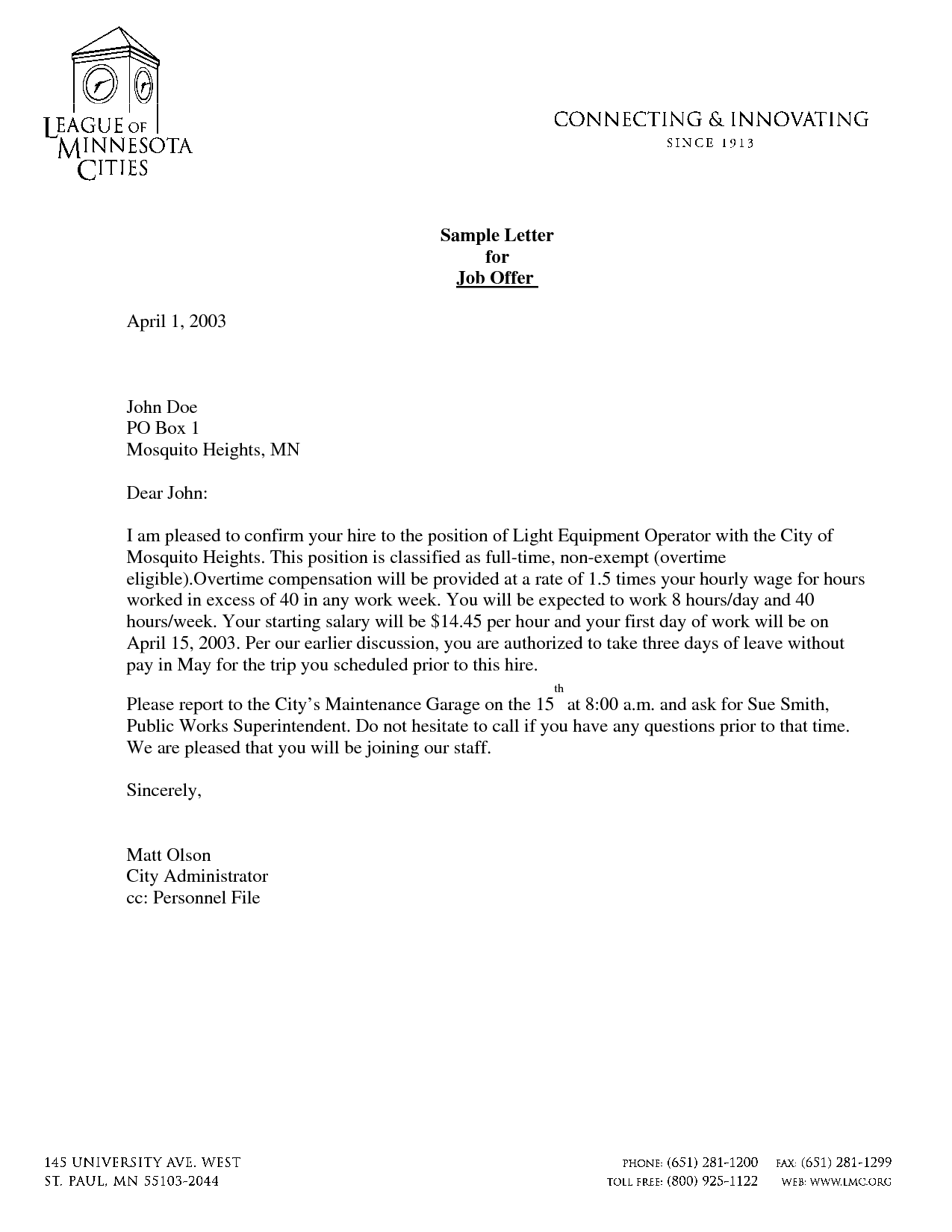 employment offer letter free printable offer letter template form generic 1202