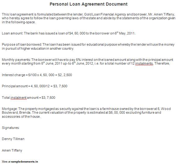 Free Printable Personal Loan Agreement Form Generic