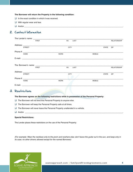 for personal loan agreement template .