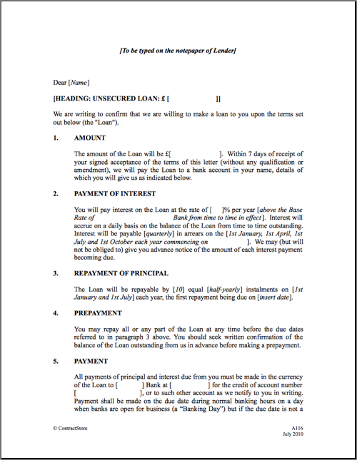 free printable personal loan contract form generic - Sample Lending Contract