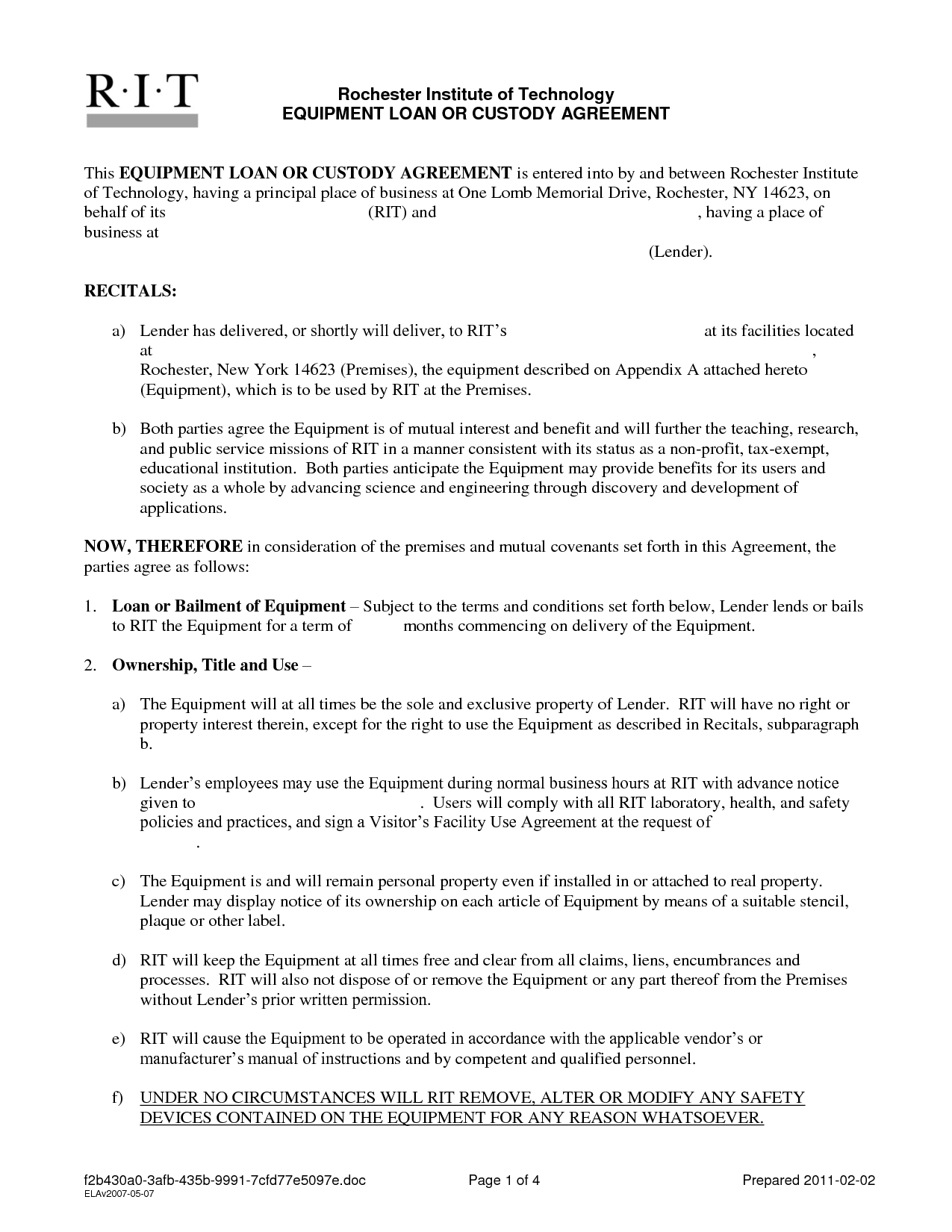 Free Printable Personal Loan Contract Form GENERIC – Short Term Loan Agreement Form