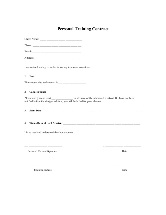Free Printable Personal Trainer Contract Form Generic