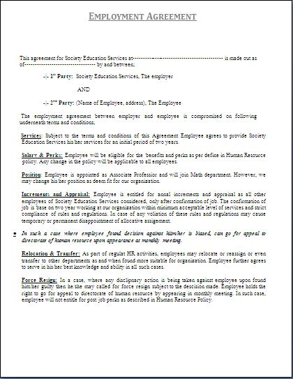 Free Printable Personal Training Contract Template Form GENERIC – Physician Employment Agreement