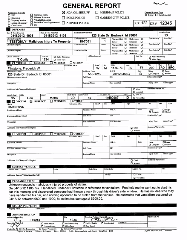 free printable police report template form generic. Black Bedroom Furniture Sets. Home Design Ideas