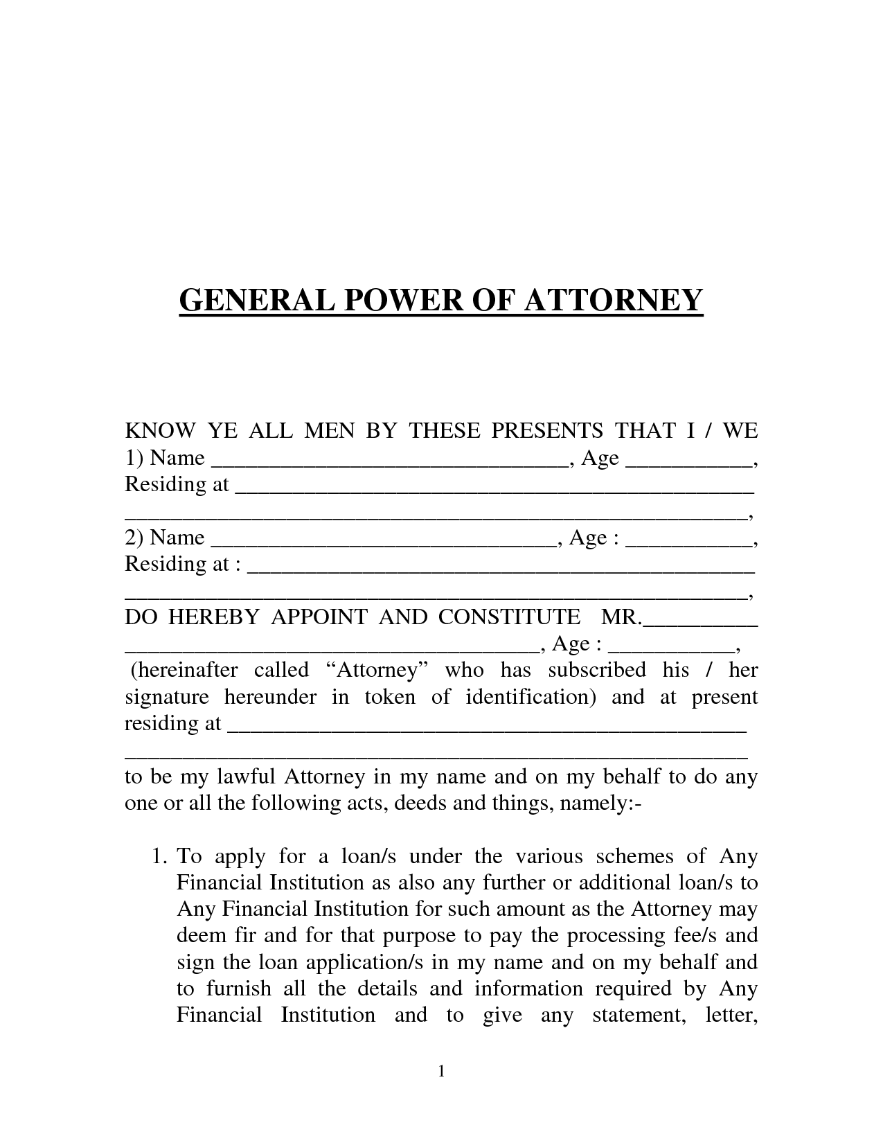 Free printable power of attorney form generic power of attorney falaconquin