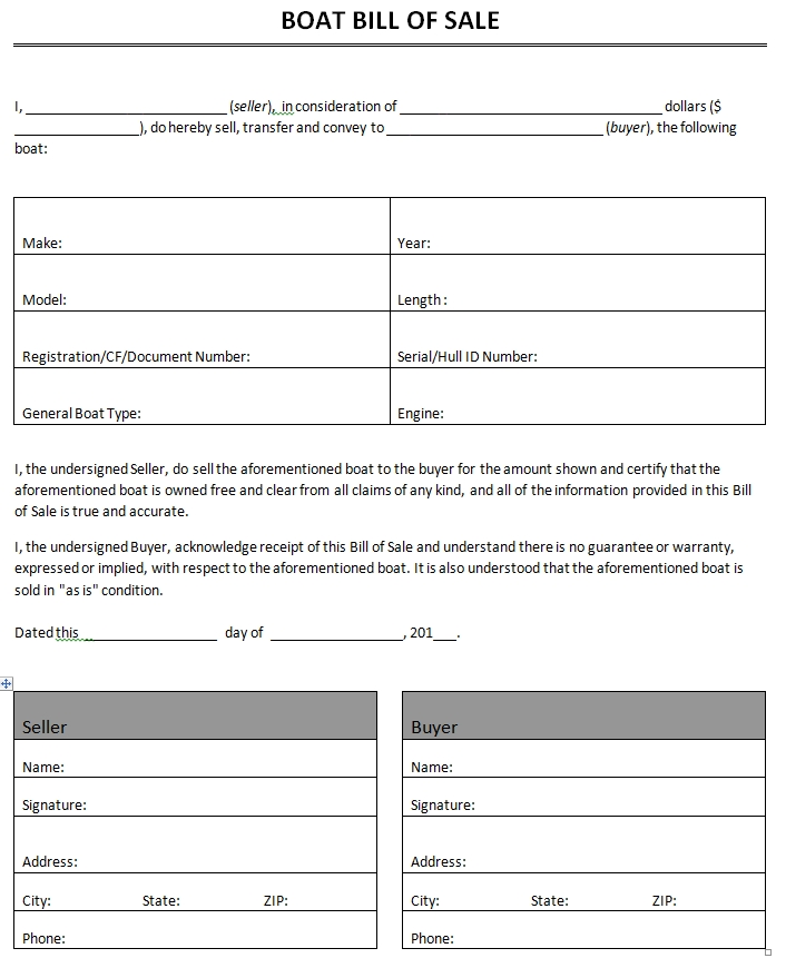 Free Printable Printable Bill Of Sale For Travel Trailer Form