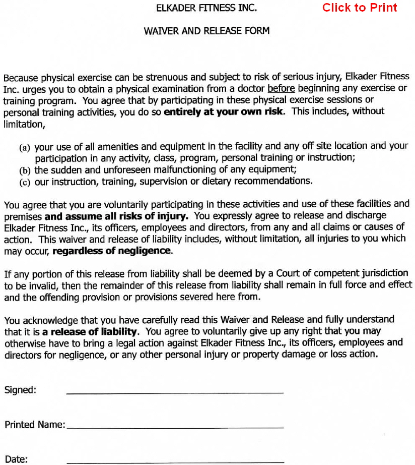 Printable Release And Waiver Of Liability Agreement Form (GENERIC