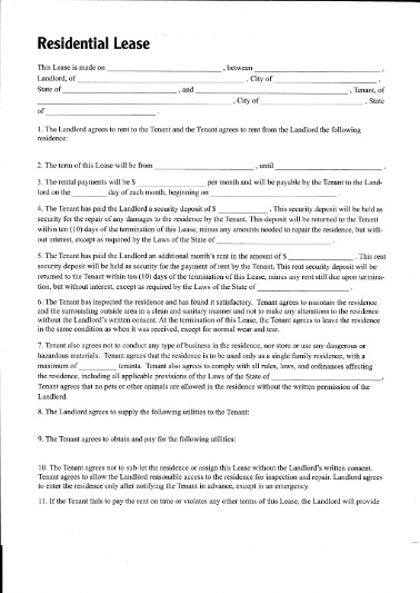 Free printable residential lease form generic for Housing lease template