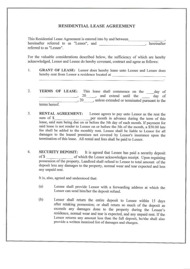 residential lease form Free Printable Residential Lease Form (GENERIC)