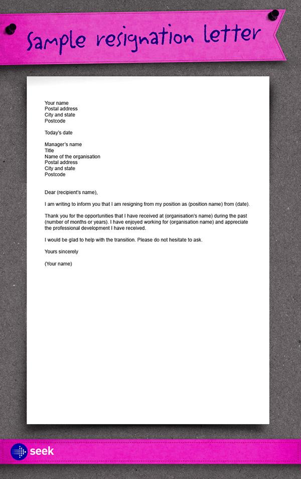 Free Printable Resignation Letter Form  Generic