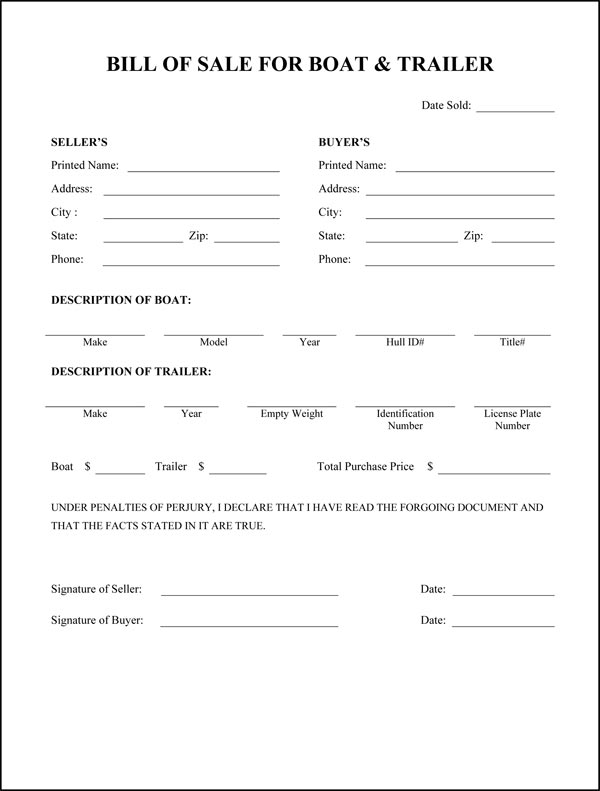Free Printable Rv Bill Of Sale Form Form (Generic)