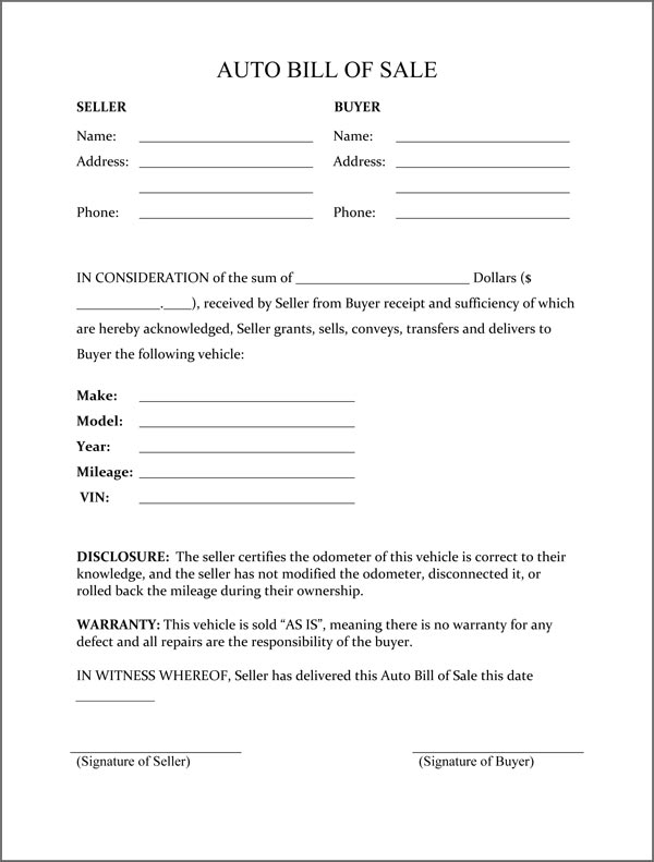 Free Printable Rv Bill Of Sale Form Generic Pictures