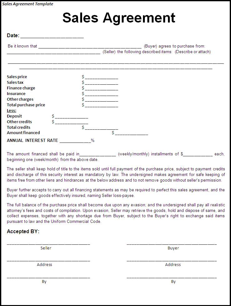 Free printable sale agreement form form generic for Sale of goods agreement template