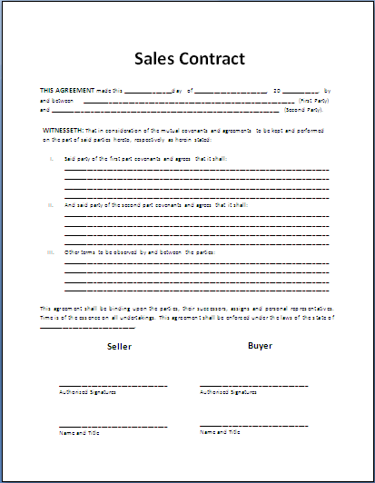 Free printable sale contract form generic for Contract for sale of land template