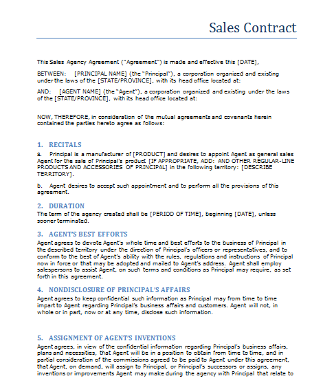 selling a business contract template - free printable sale contract form generic