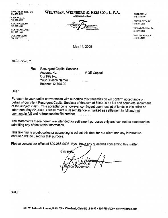 Free Printable Settlement Letter Form GENERIC