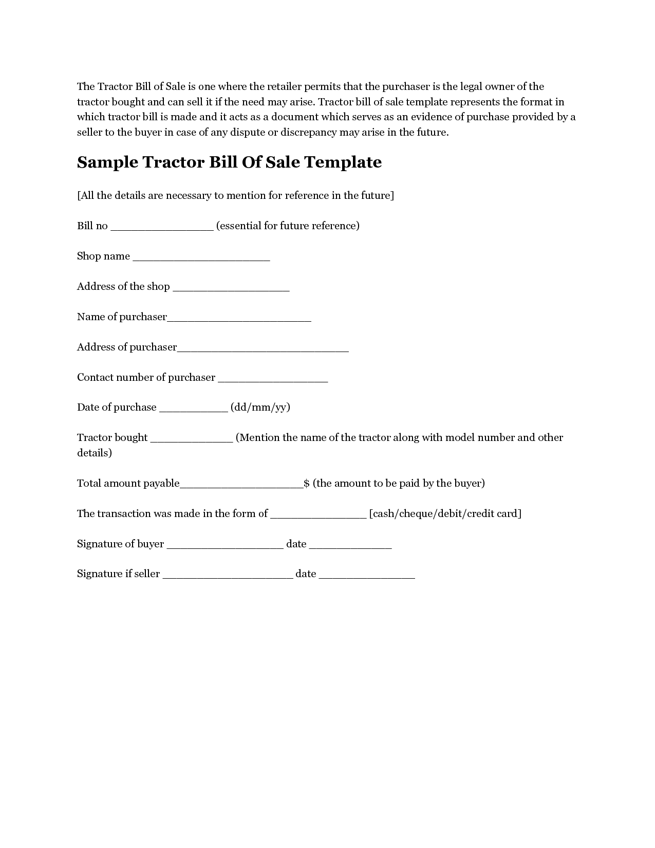 Free Printable Tractor Bill Of Sale Form  Generic