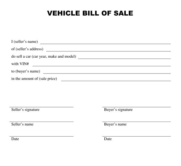 Printable Bill Of Sale Template Blank Bill Of Sale Form Misc ...