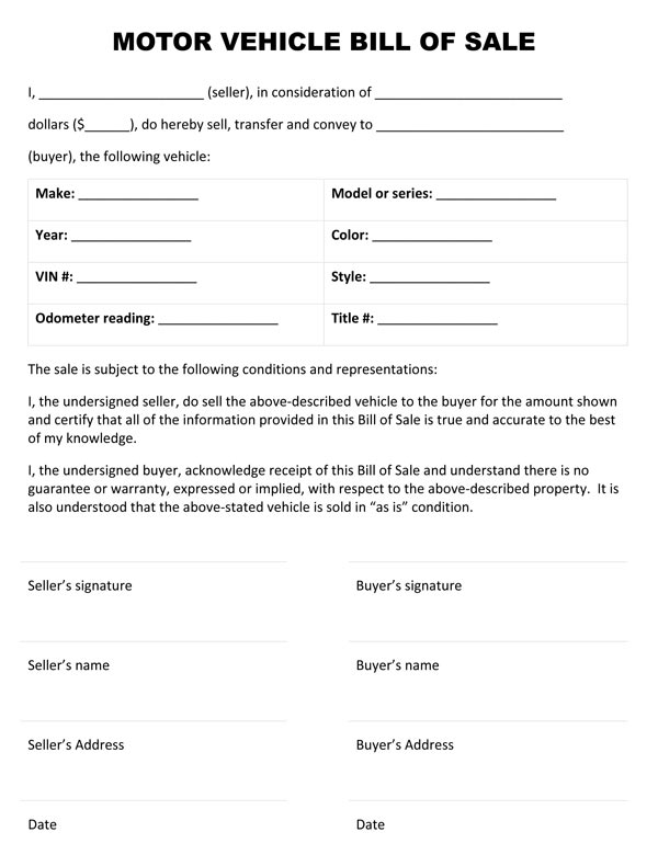 Free printable vehicle bill of sale template form generic for South carolina department of motor vehicles bill of sale
