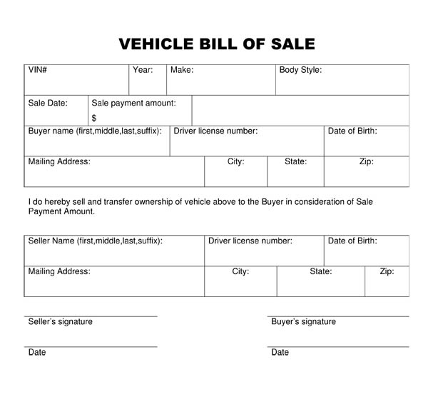 bill sale for car thevillas co