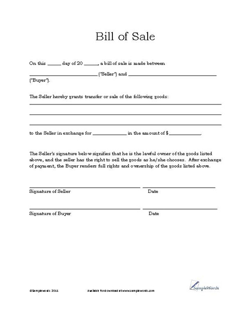 Free Printable Vehicle Bill of Sale Template Form  GENERIC NWF5K1Sq