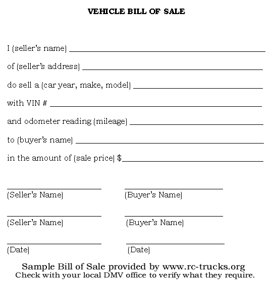 Free Printable Vehicle Bill of Sale Template Form  GENERIC BZIrMVn0