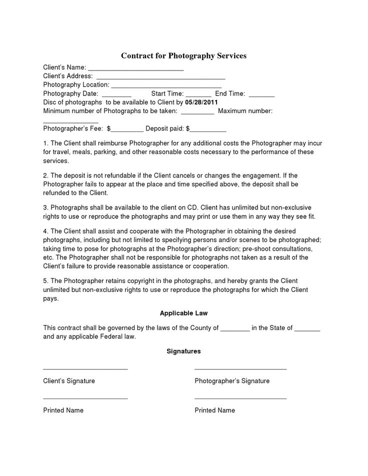 ... Wedding Photography Contract Template ...  Contract For Services Template