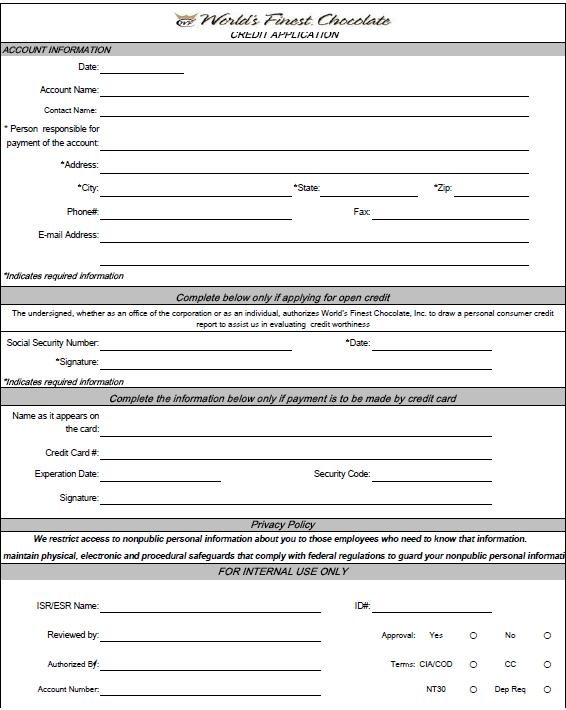 Free Printable Credit Application Form Form (Generic)