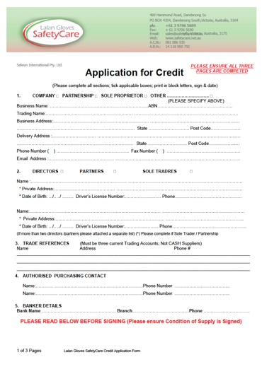 Free Printable Credit Application Form Form Generic