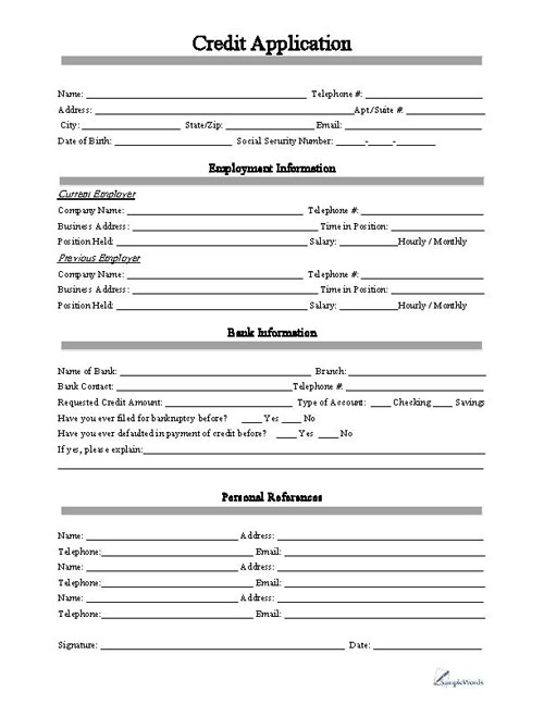 free printable credit application form form generic. Black Bedroom Furniture Sets. Home Design Ideas